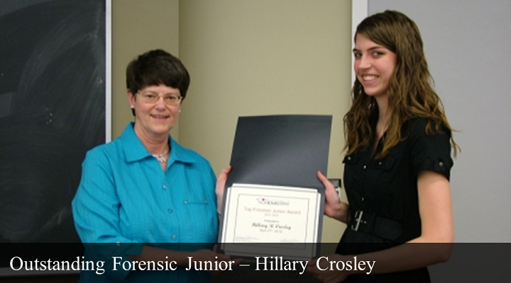 2012 Outstanding Forensic Junior - Hillary Crosley