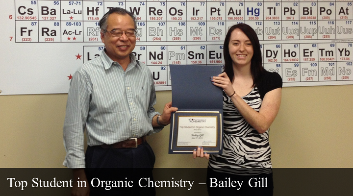 Top Student in Organic Chemistry - Bailey Gill