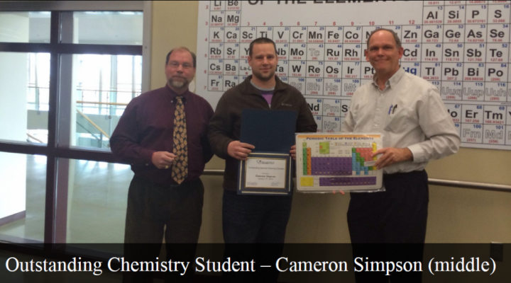Outstanding General Chemistry Student - Cameron Simpson (middle)