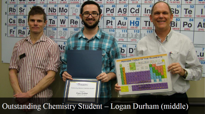 Outstanding General Chemistry Student - Logan Durham (middle)