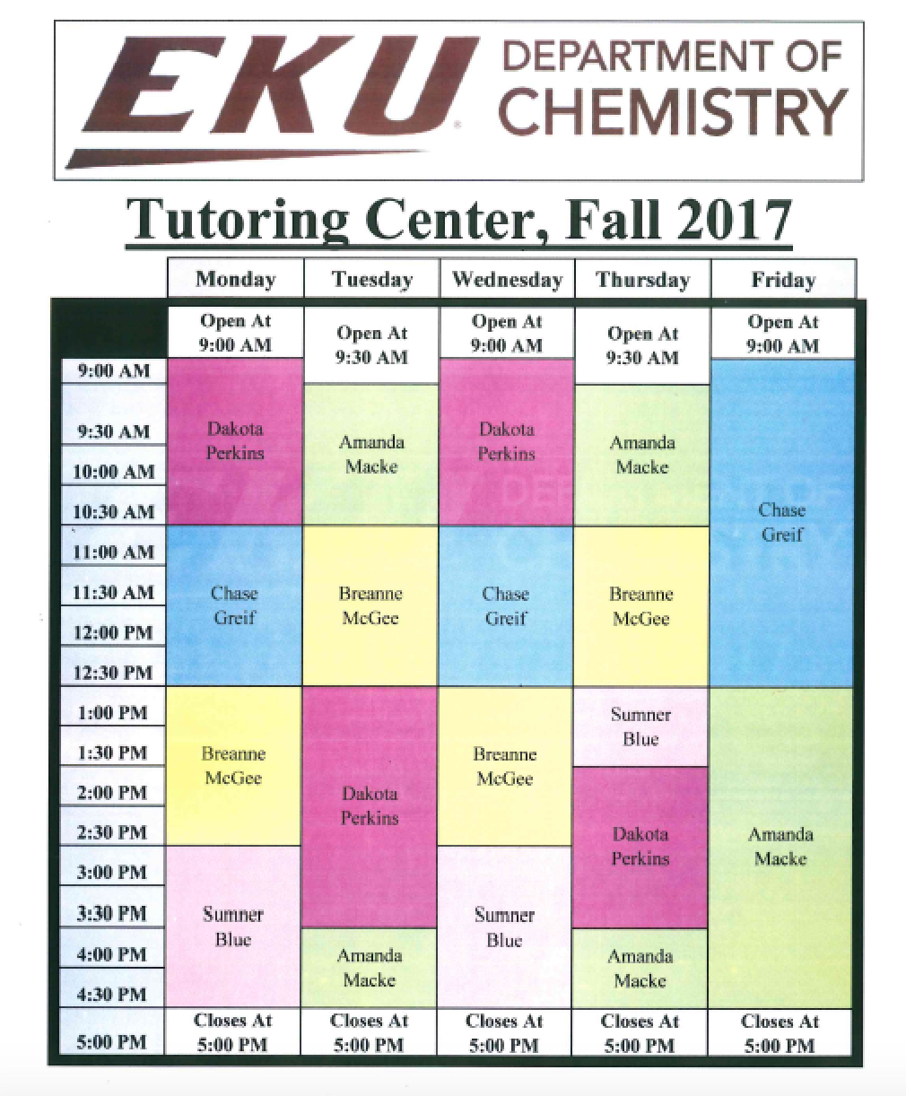 Fall 2017 Chem Tutoring Schedule